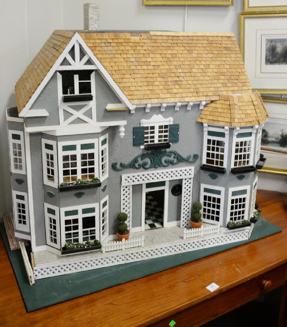 Doll house with furnishings. ht. 31 in., wd. 40 in., - 6