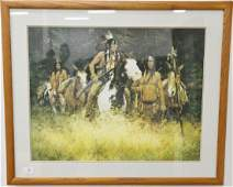 Three Howard Terpning lithograph prints, Sioux Flag