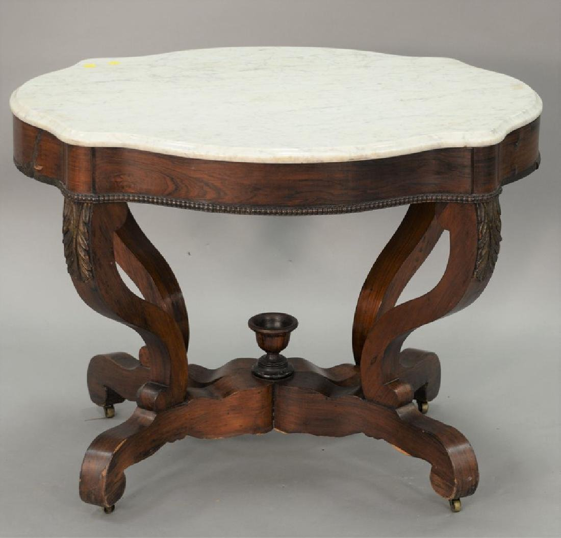 Victorian marble top shaped center table. ht. 28 1/2