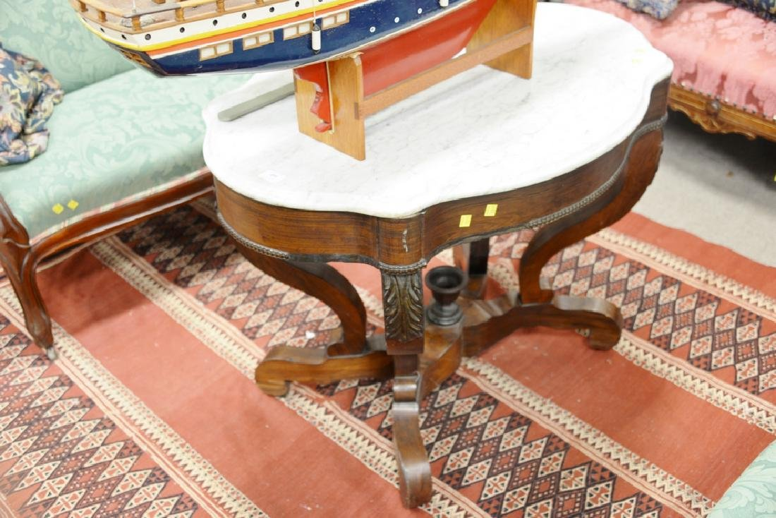 Victorian marble top shaped center table. ht. 28 1/2 - 2