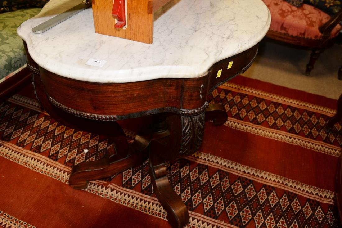 Victorian marble top shaped center table. ht. 28 1/2 - 3
