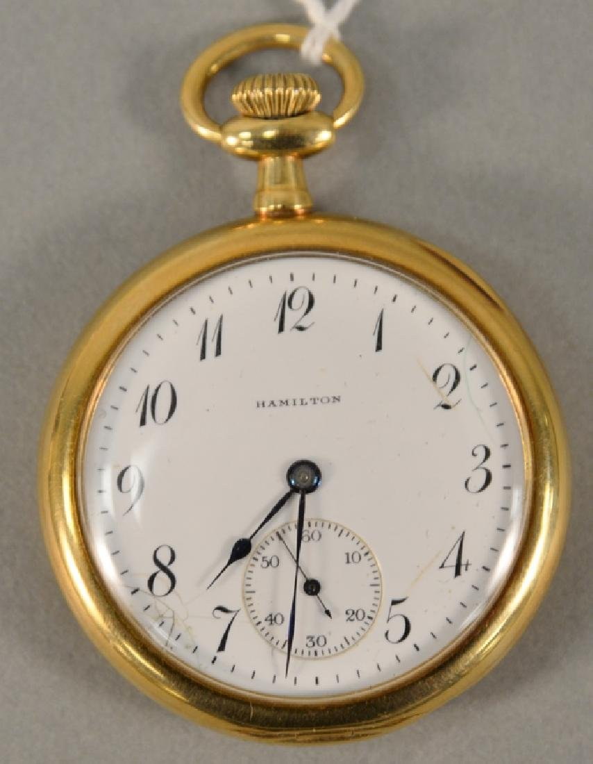 18 karat gold Hamilton pocket watch, open face with