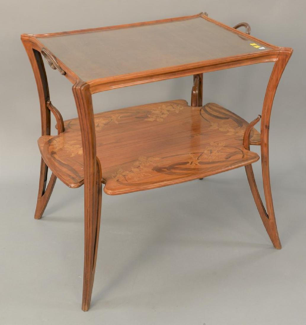 Majorelle mahogany marquetry inlaid two-tier table with