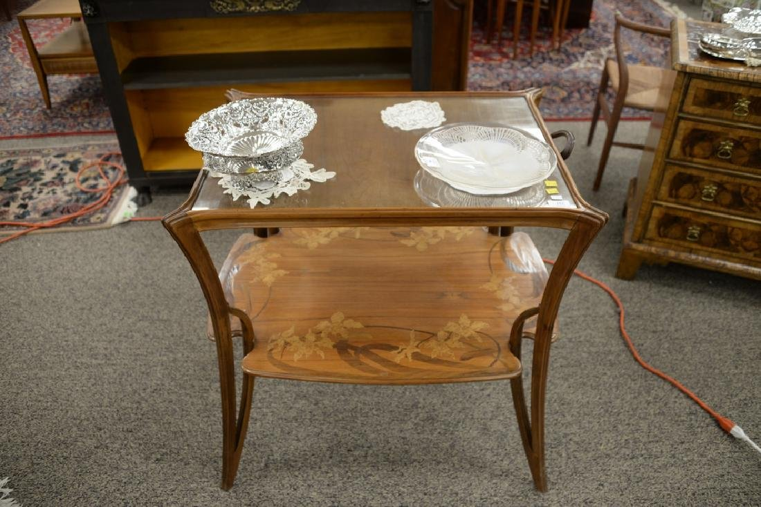 Majorelle mahogany marquetry inlaid two-tier table with - 2