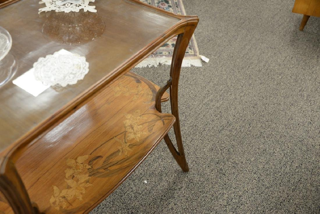 Majorelle mahogany marquetry inlaid two-tier table with - 6