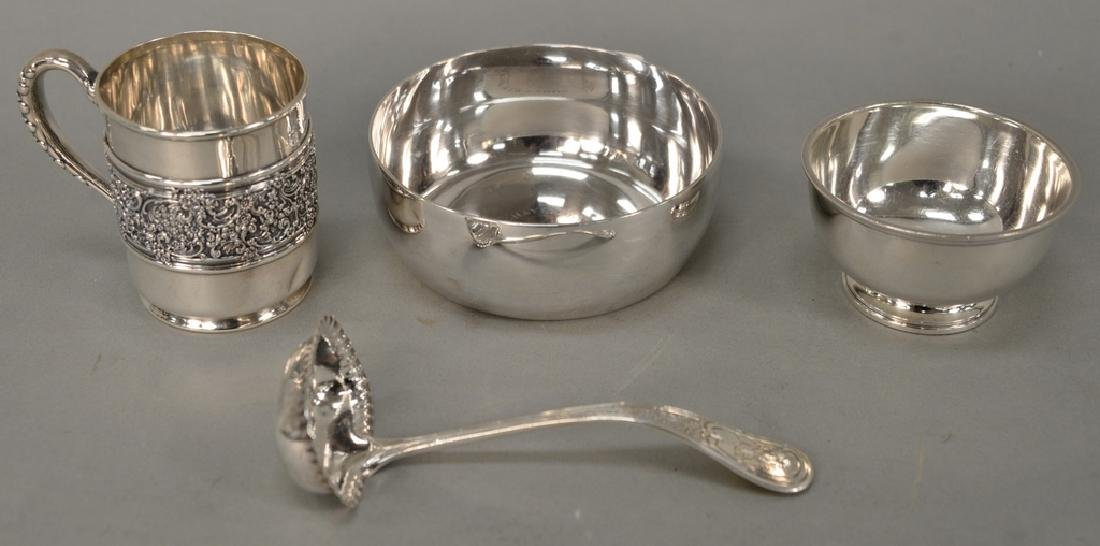 Tiffany & Co. four piece lot with mug, ladle, and two