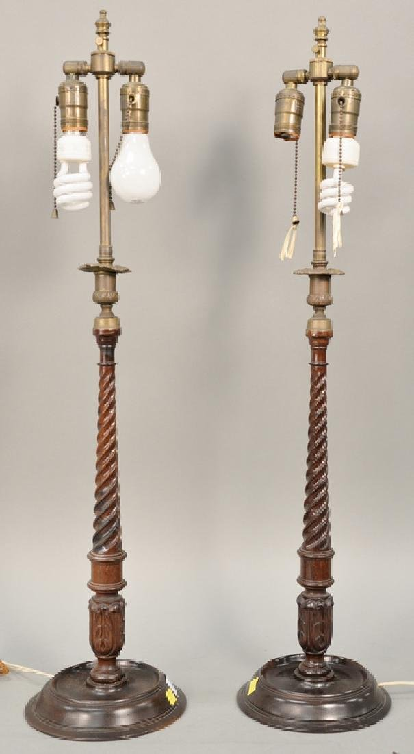 Pair of wood and brass candlestick lamps, ht. 32 1/2