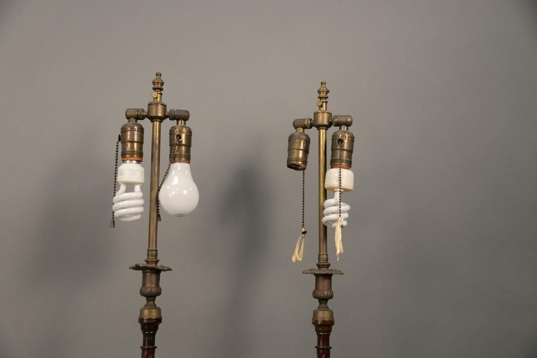 Pair of wood and brass candlestick lamps, ht. 32 1/2 - 4