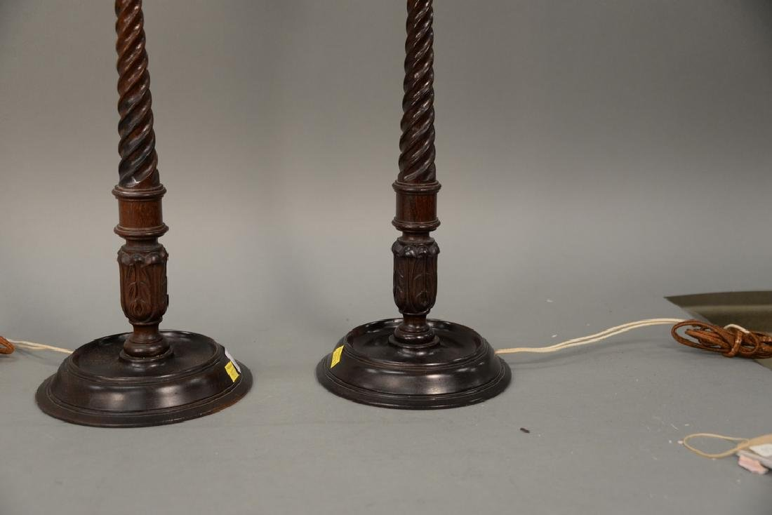 Pair of wood and brass candlestick lamps, ht. 32 1/2 - 5