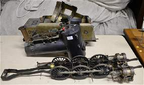 Large live steam engine train parts, iron bronze and