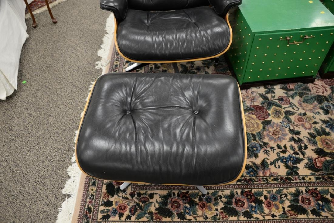 Herman Miller leather lounge chair and ottoman, signed. - 4