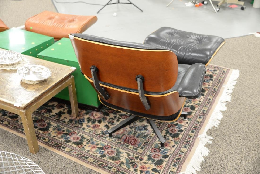 Herman Miller leather lounge chair and ottoman, signed. - 5