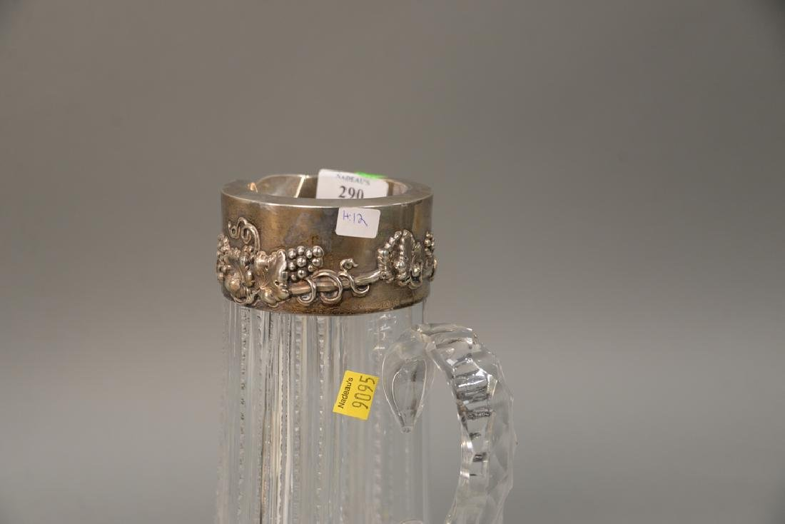 Cut glass pitcher with sterling silver top (chipped). - 2