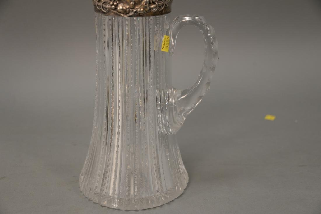 Cut glass pitcher with sterling silver top (chipped). - 3