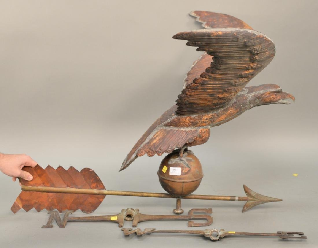 Large copper flying eagle weathervane with
