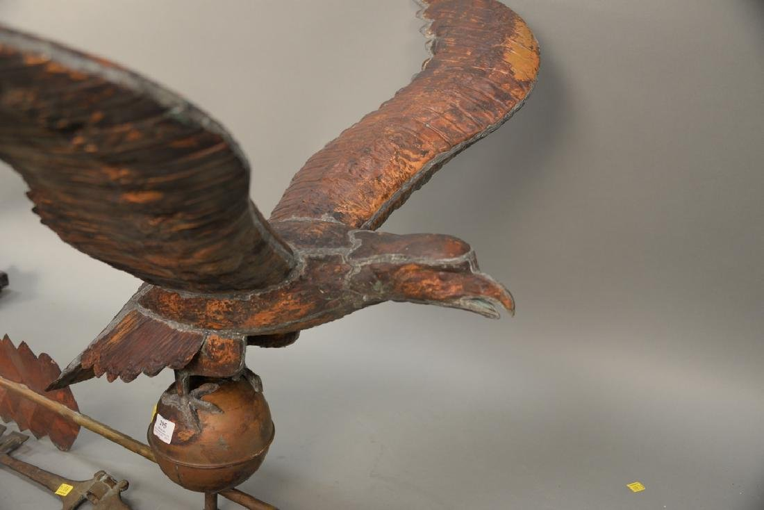 Large copper flying eagle weathervane with - 2