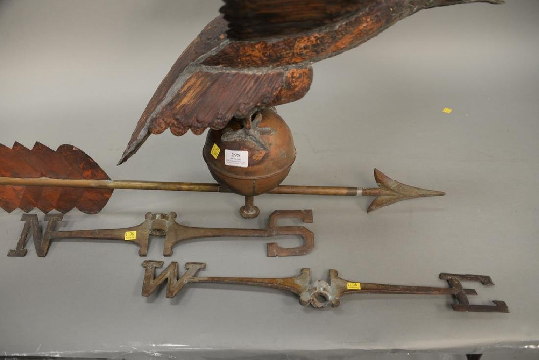 Large copper flying eagle weathervane with - 4