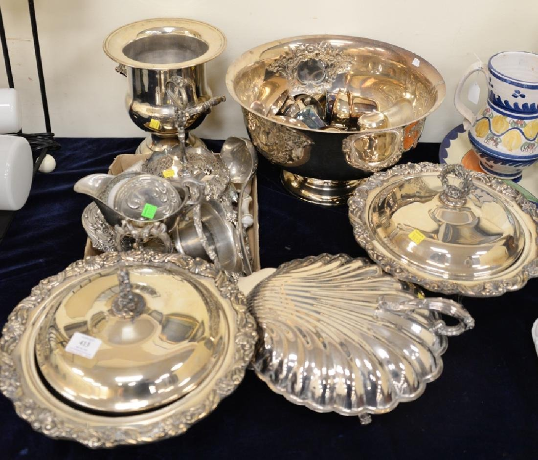 Silverplate lot including punch bowl and cups, covered