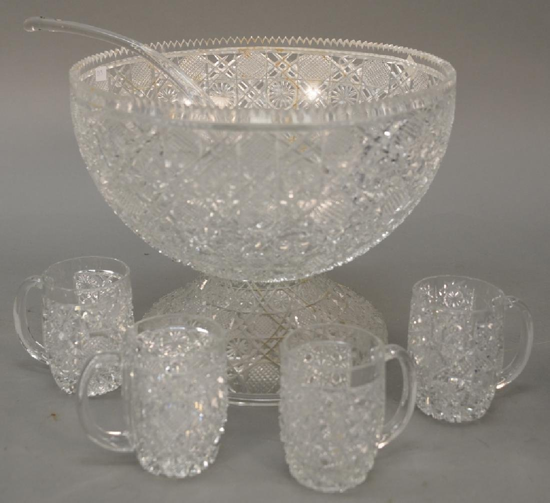 Group of cut glass to include a punch bowl with twelve