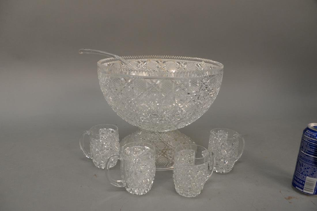 Group of cut glass to include a punch bowl with twelve - 3