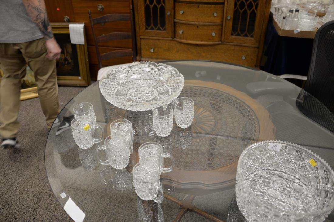 Group of cut glass to include a punch bowl with twelve - 4