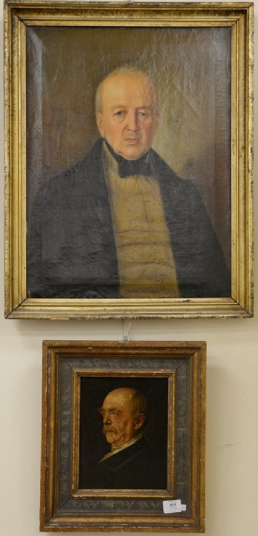Two framed portraits, portrait of gentleman, oil on