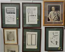Nineteen framed pieces to include fox hunt, printed