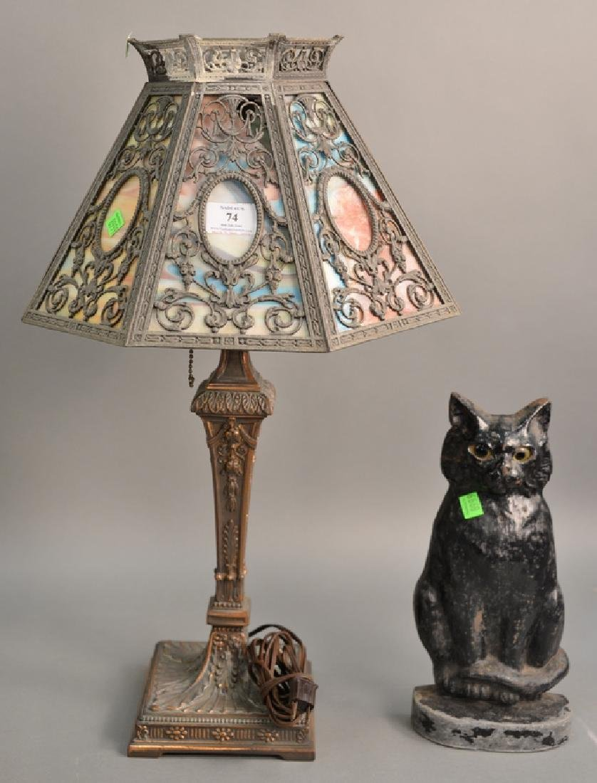 Two piece lot including panel shade table lamp ht. 24