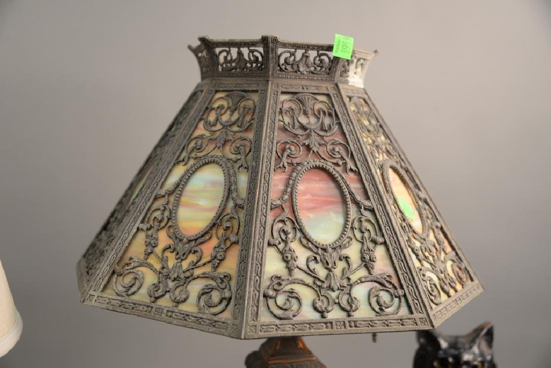 Two piece lot including panel shade table lamp ht. 24 - 3