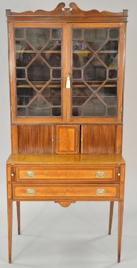Federal style mahogany tambour secretary desk in two