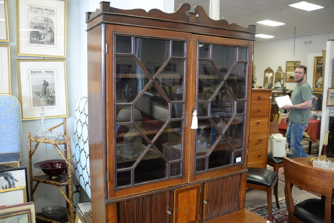 Federal style mahogany tambour secretary desk in two - 3