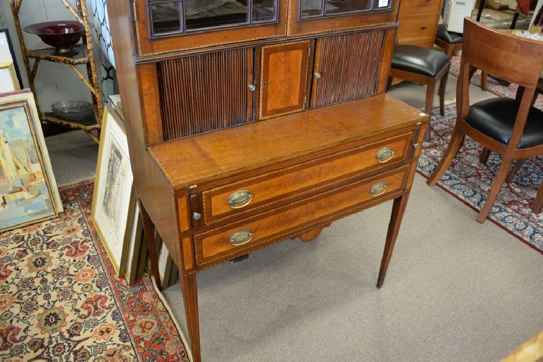 Federal style mahogany tambour secretary desk in two - 4