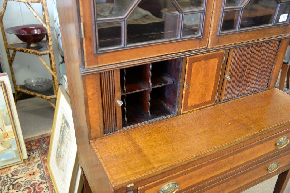 Federal style mahogany tambour secretary desk in two - 5