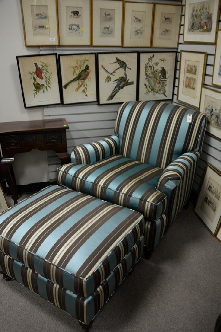 Custom upholstered chair and ottoman. - 2