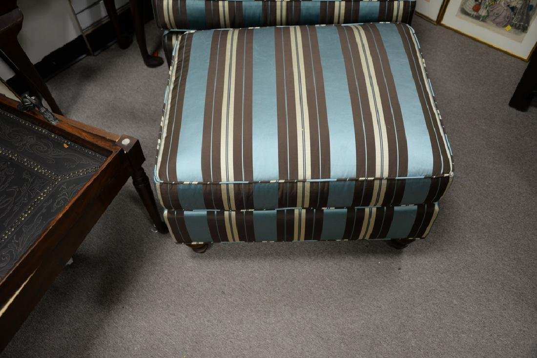 Custom upholstered chair and ottoman. - 4