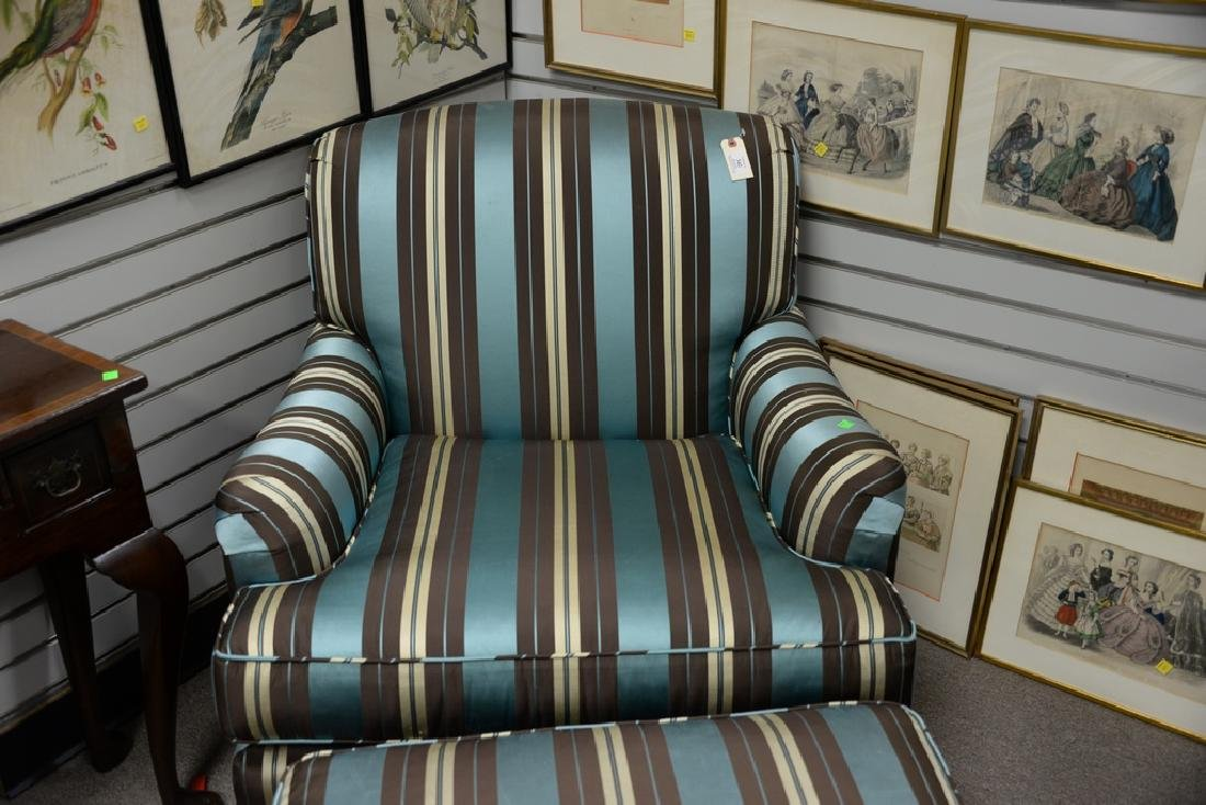 Custom upholstered chair and ottoman. - 5