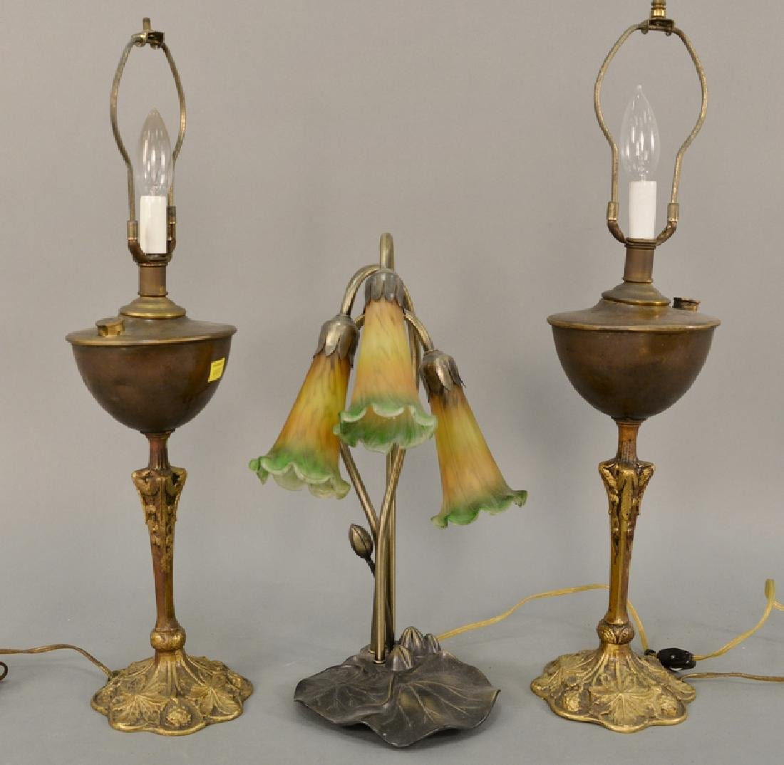 Seven table lamps to include bouillotte style lamp with