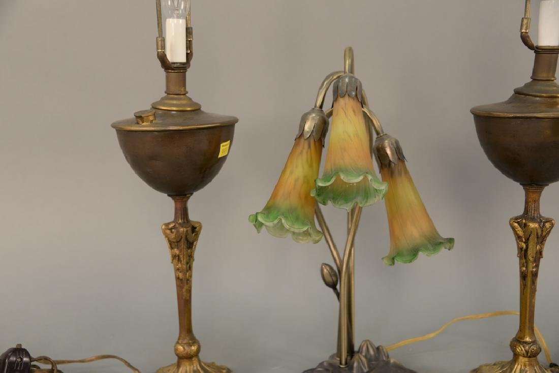 Seven table lamps to include bouillotte style lamp with - 2