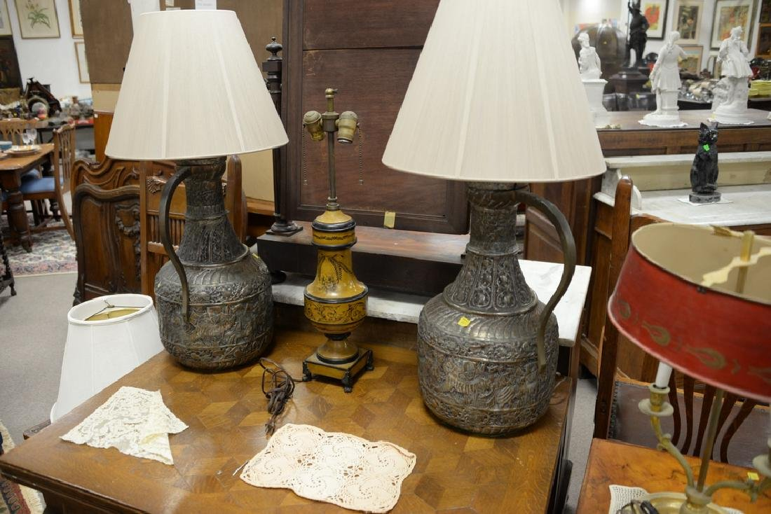 Seven table lamps to include bouillotte style lamp with - 4