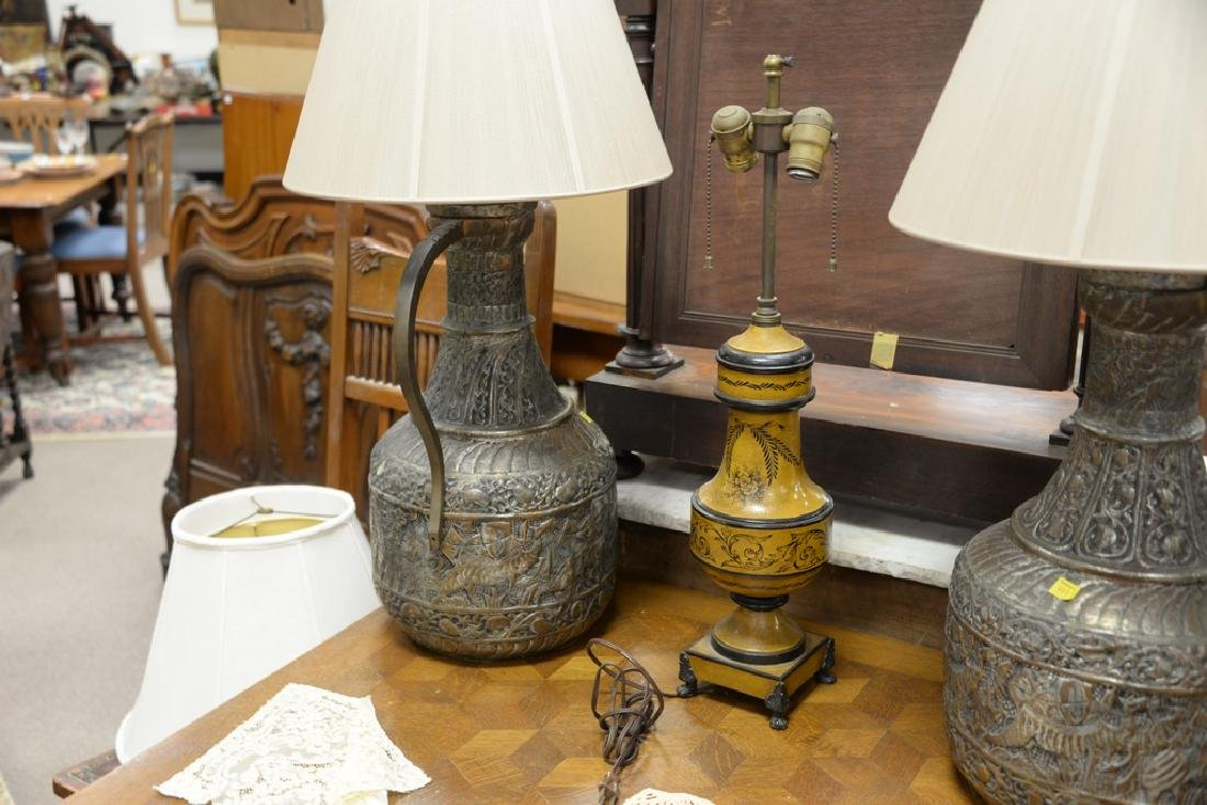 Seven table lamps to include bouillotte style lamp with - 5