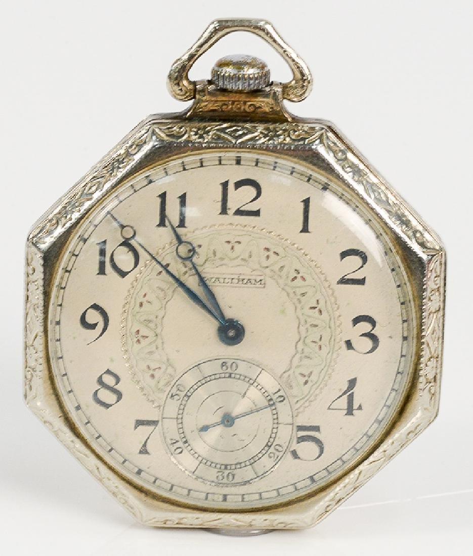 Waltham 14 karat white gold open face pocket watch,