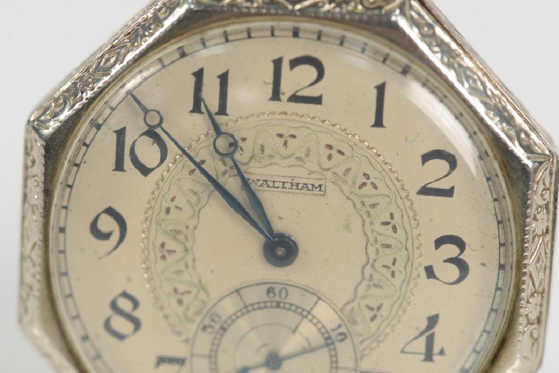 Waltham 14 karat white gold open face pocket watch, - 2