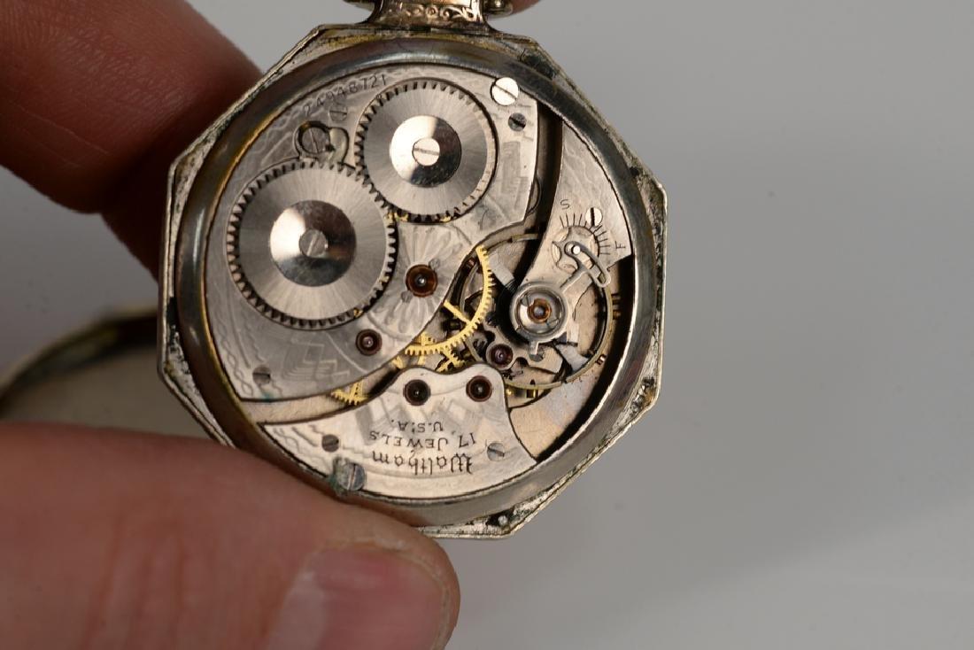 Waltham 14 karat white gold open face pocket watch, - 4