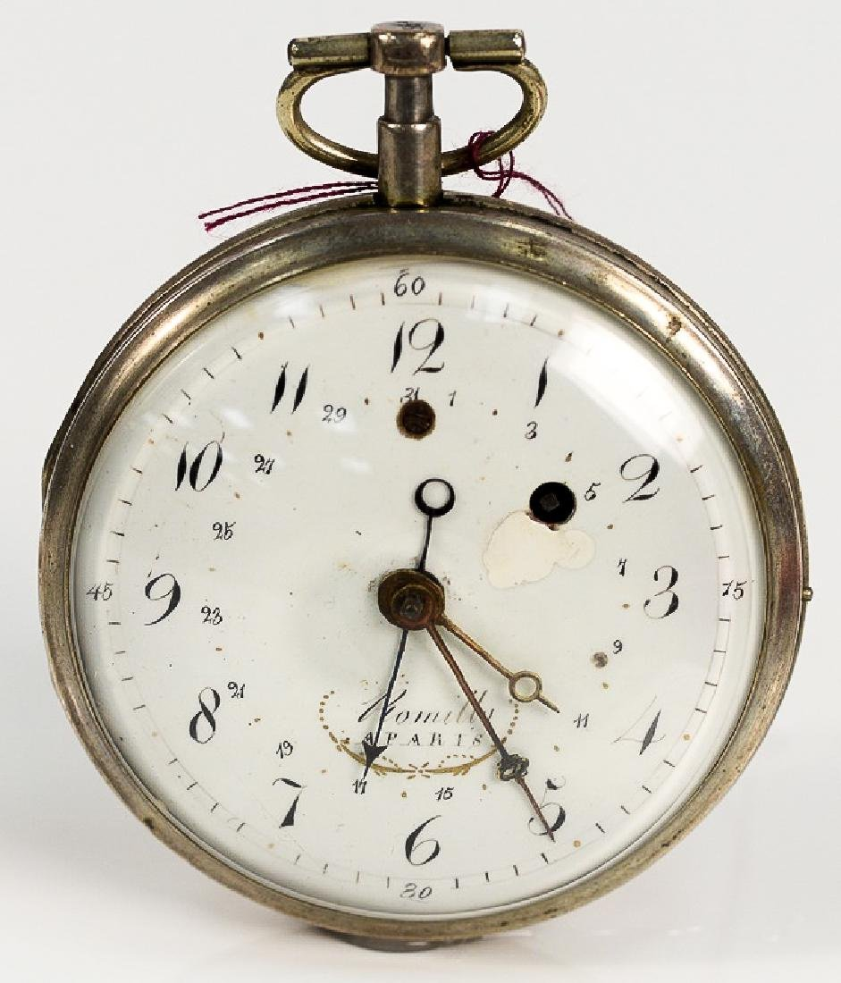 Breguet silver pocket watch having white enameled dial