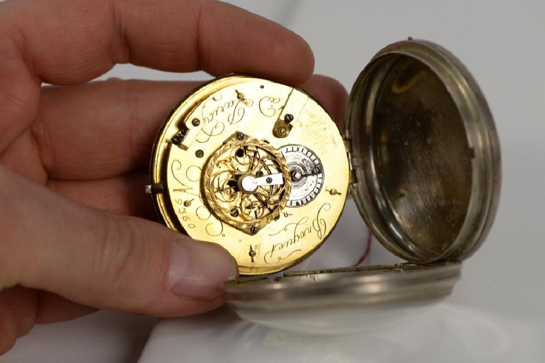 Breguet silver pocket watch having white enameled dial - 4