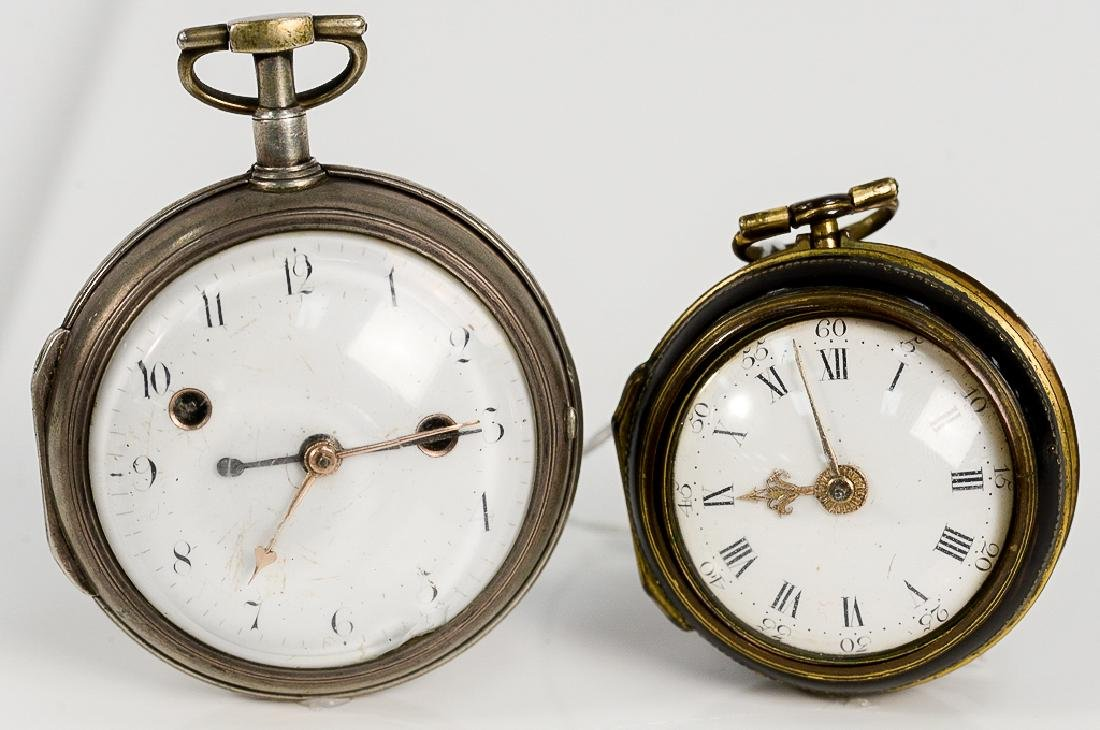 Two silver and tortoise shell case pocket watches to