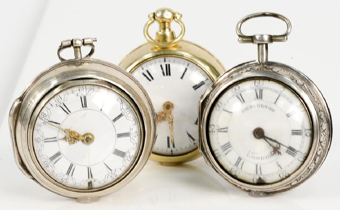 Three silver pair cased pocket watches including Robert