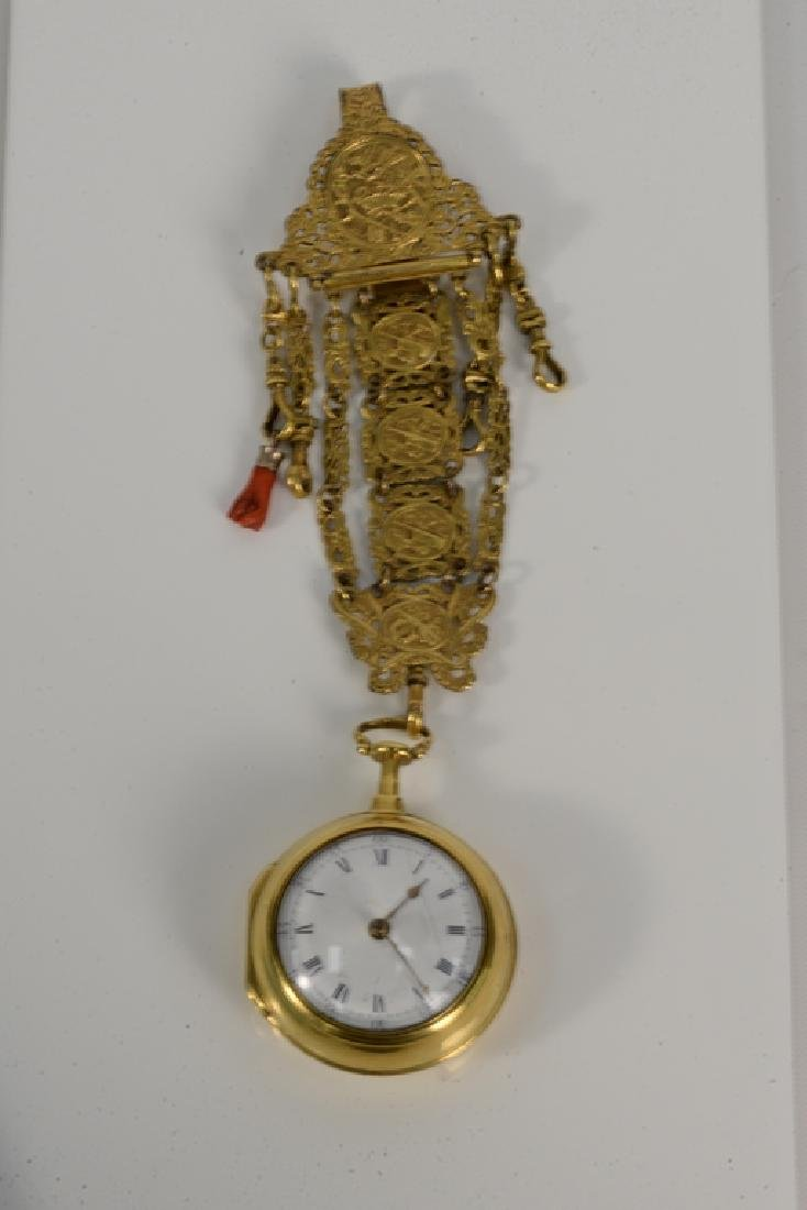 Perigal gilt pair cased pocket watch with white - 2