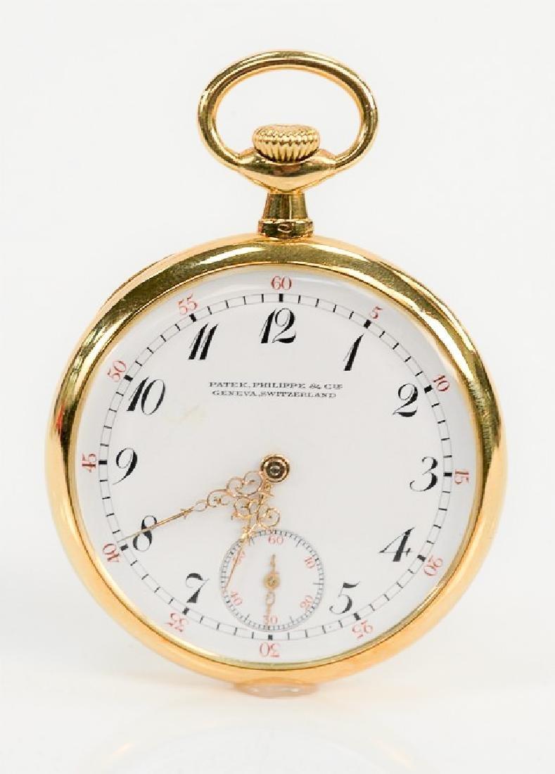 Patek Philippe 18 karat open face pocket watch, made