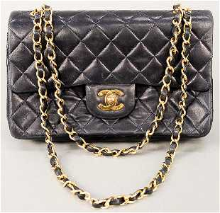 0ddb1bd2c6 Chanel quilted navy lambskin leather double flap small